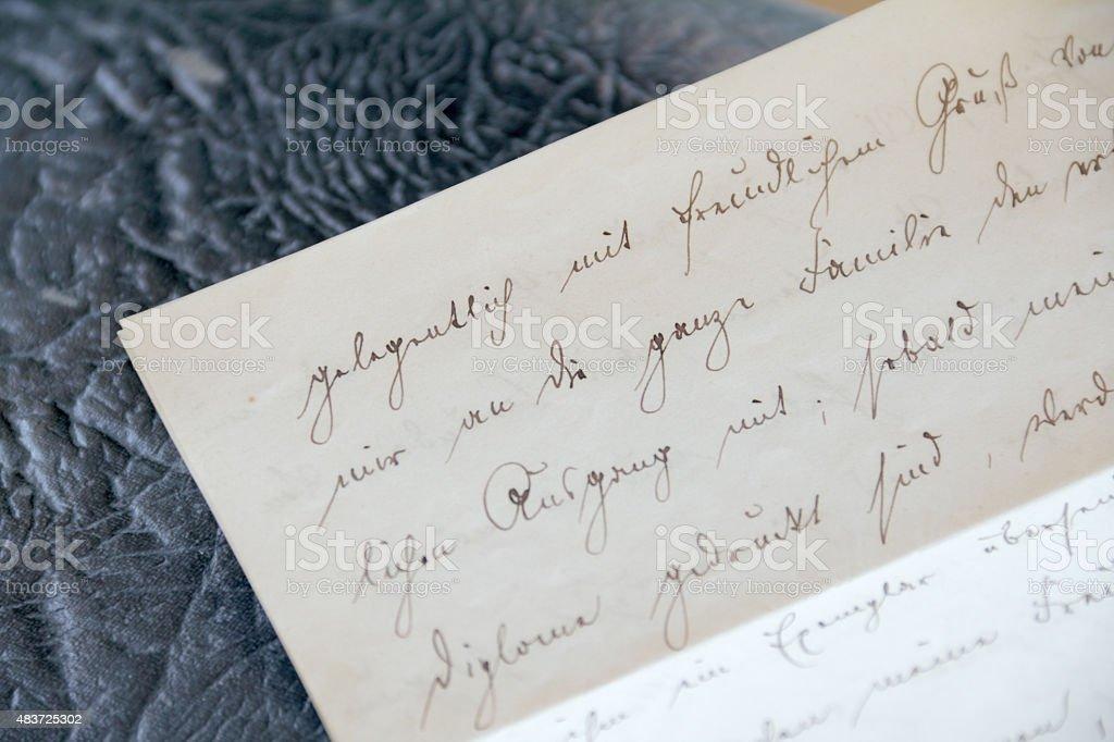 part of handwritten letter stock photo