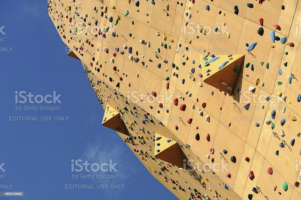 Part of highest climbing wall in the world stock photo