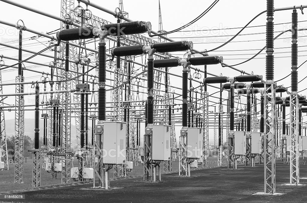 Part of high-voltage substation with switches and disconnectors stock photo
