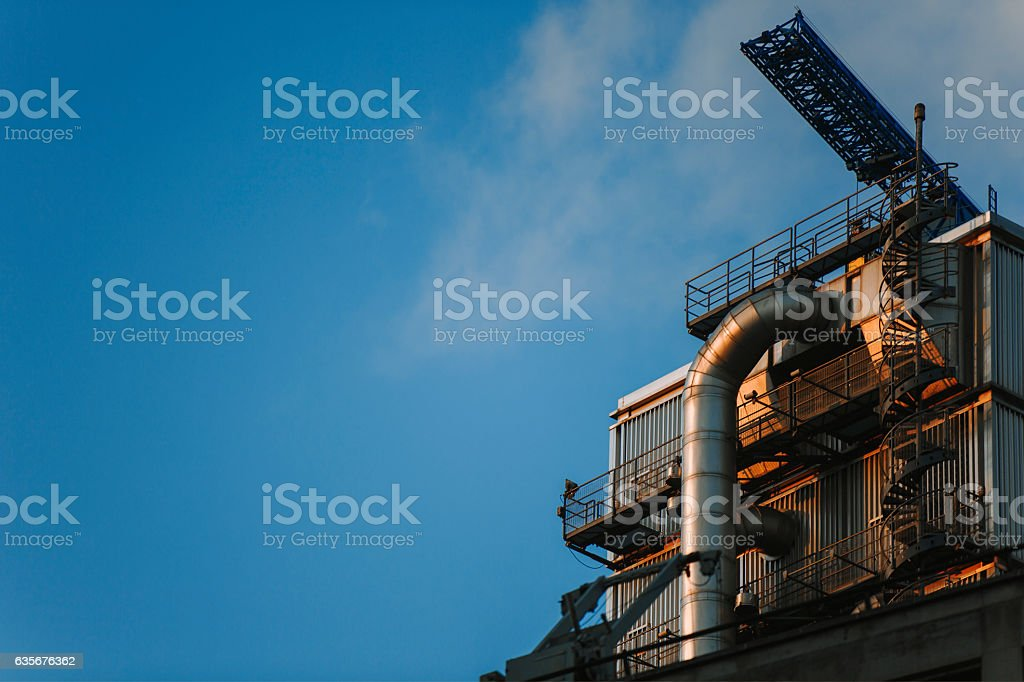 Part of industrial building with ventilation system stock photo