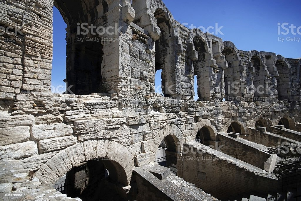 Part of inside Roman Arena in Arles, Provence, France royalty-free stock photo