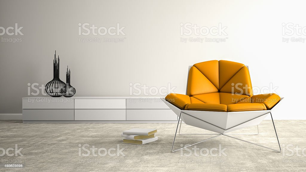 Part of interior with modern armchair 3D rendering stock photo