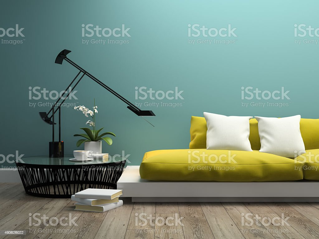 Part of interior with  modern yellow sofa 3d rendering 2 stock photo