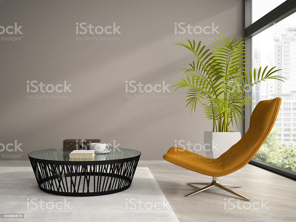 Part of  interior with orange armchair 3D rendering stock photo