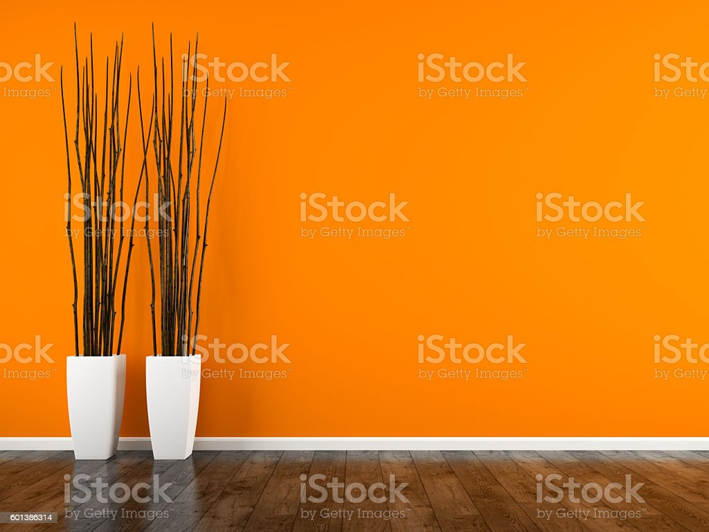 Part of interior with orange wall and vases 3D rendering stock photo