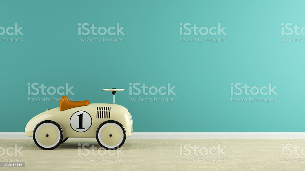 Part of  interior with stylish beige toy car 3D rendering stock photo
