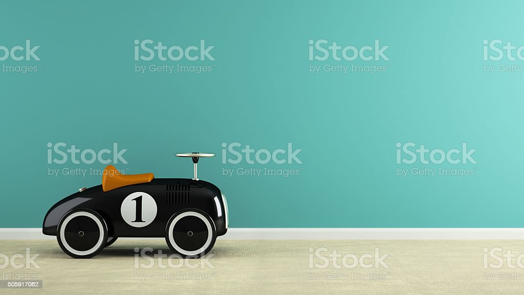 Part of  interior with stylish black toy car 3D rendering stock photo