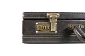 Part of Leather vintage briefcase with safety lock isolated