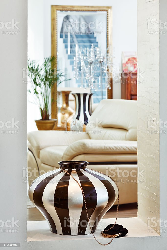 Part of modern art deco style drawing-room interior royalty-free stock photo