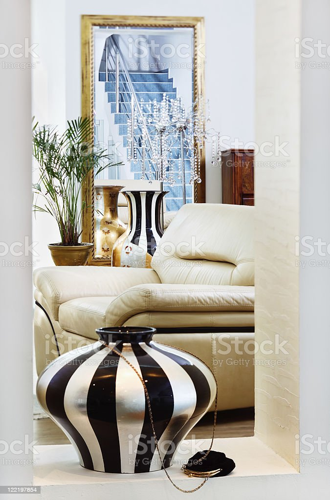 Part of modern art deco style drawing-room interior with vase royalty-free stock photo