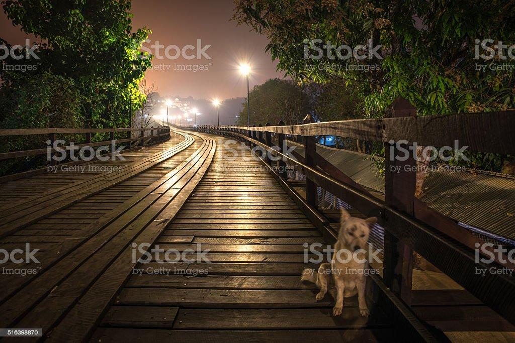 Part of Mon Bridge at dawn. stock photo