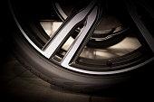 Part of new tire on alu rim