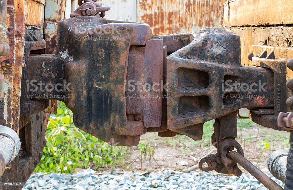 Part of old train , connect between bogie stock photo