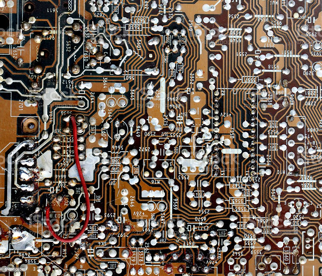 Part of old vintage printed circuit board stock photo