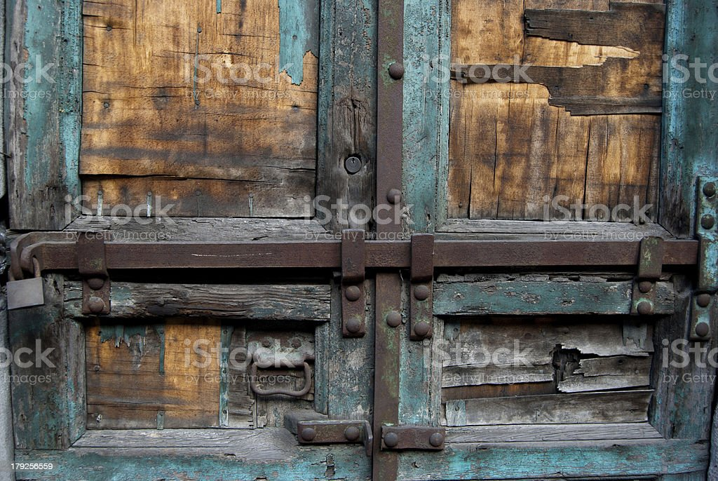 Part of old wood door with locks royalty-free stock photo