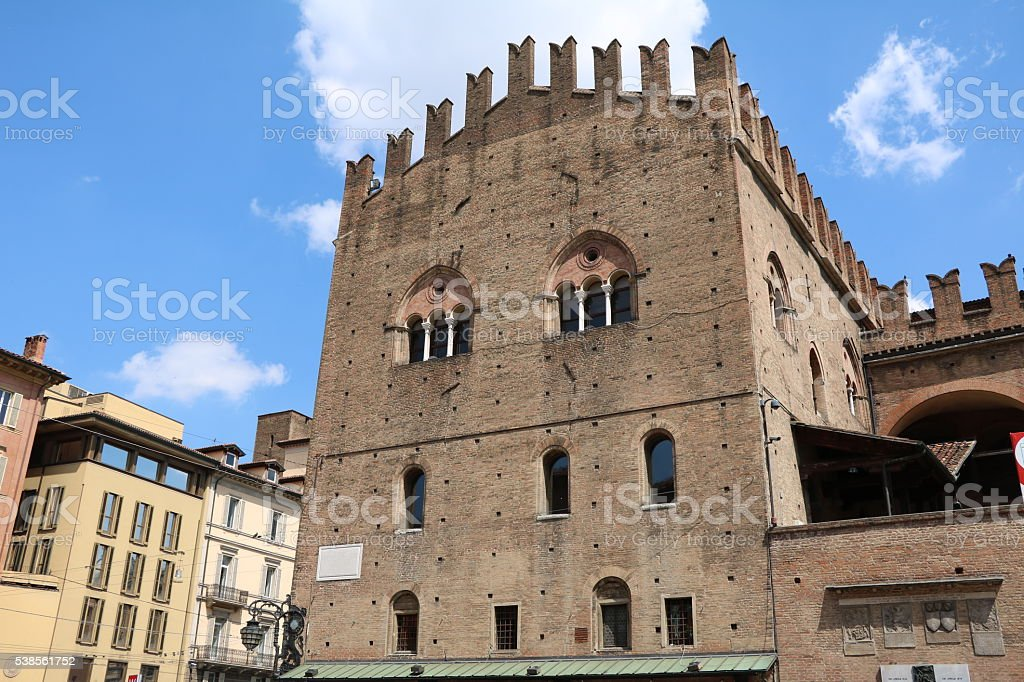 Part of Palazzo Re Enzo in Bologna Italy stock photo