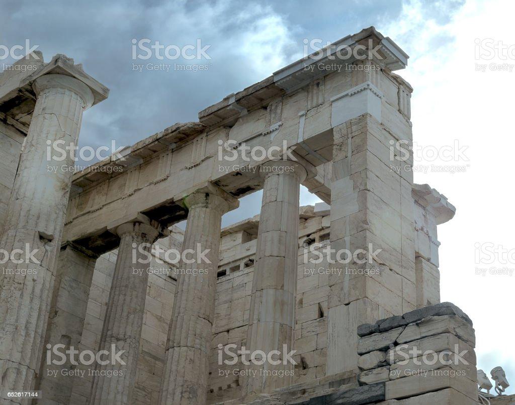 part of Parthenon in Acropolis stock photo