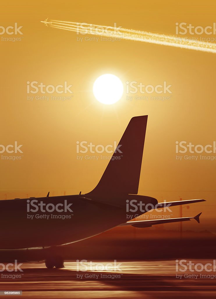part of plane at the airport royalty-free stock photo
