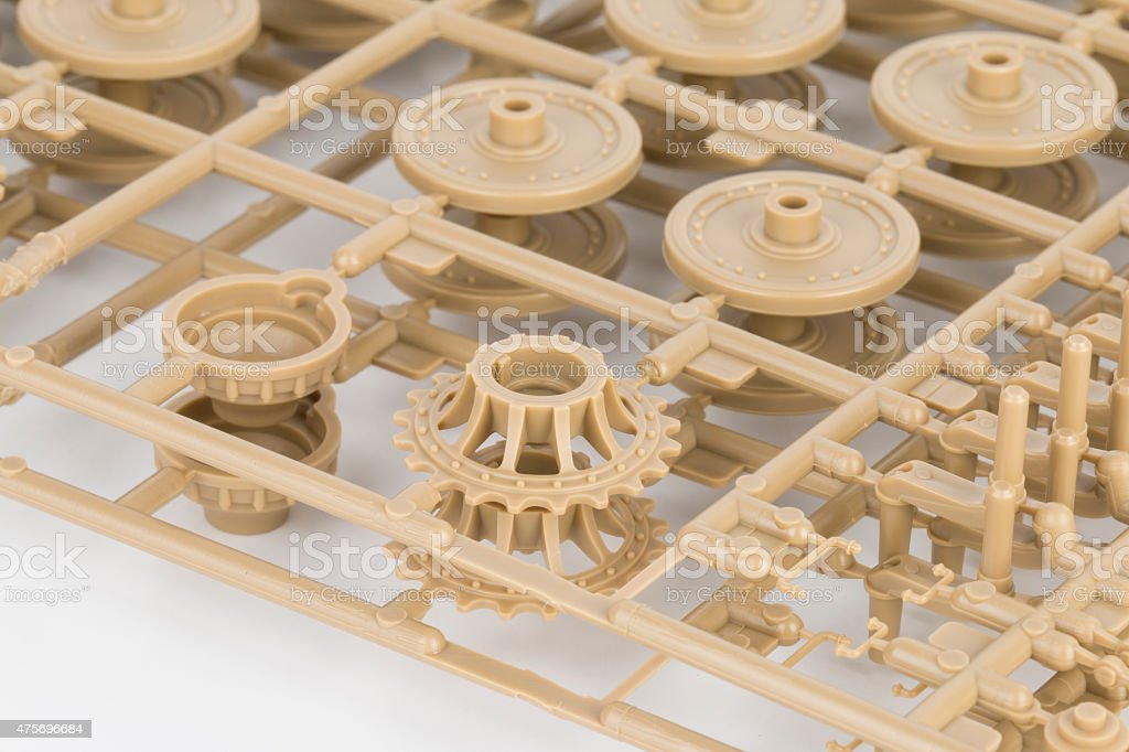 Part of plastic model kit. stock photo