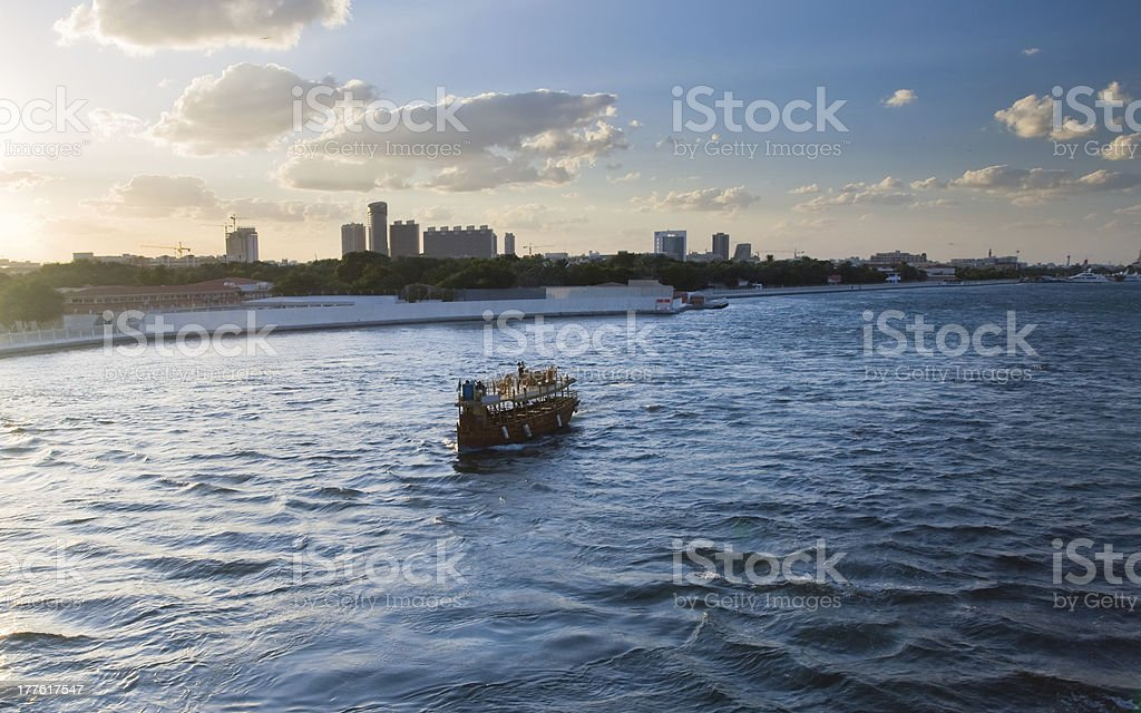 Part of port, overlooking the skyscrapers Dubai. royalty-free stock photo