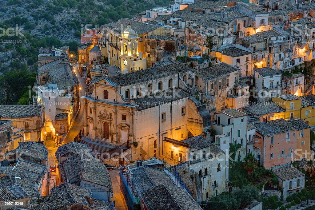 Part of Ragusa Ibla at night stock photo