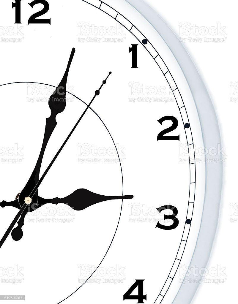 part of round Wall clock stock photo
