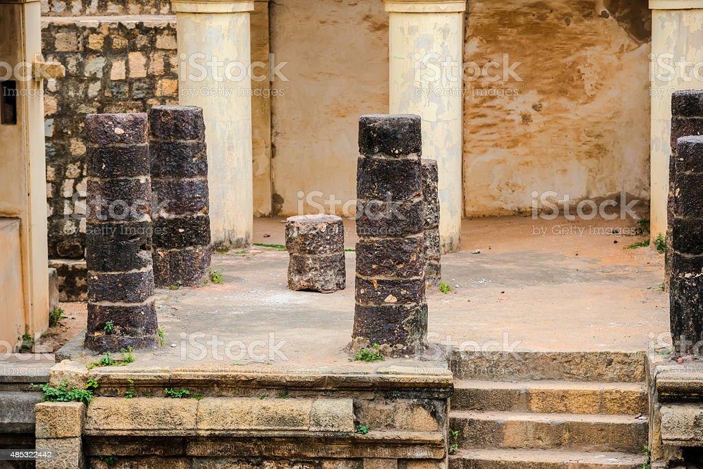 part of ruins Vijaynagara Fort Tanjore ancient monument stock photo