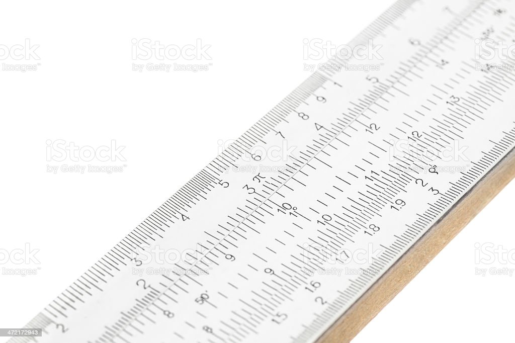 Part of slide ruler isolated on white background stock photo