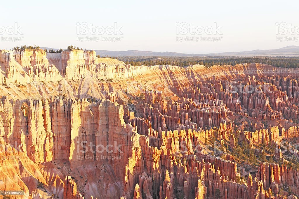 part of the amphitheatre at Bryce Canyon during early morning stock photo