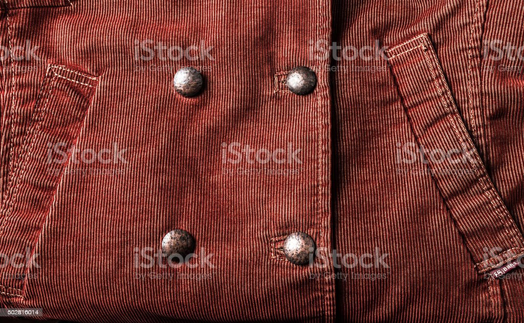 Part of the brick color corduroy jacket stock photo