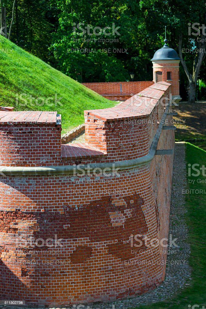 part of the brick wall of the Nesvizh Castle stock photo