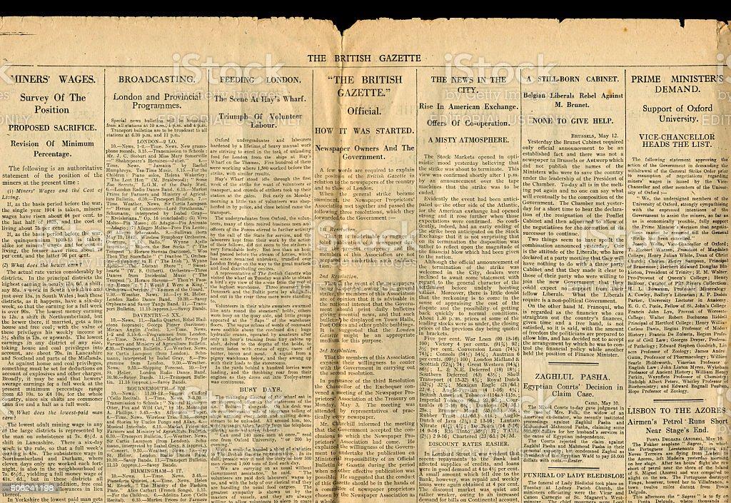 Part of The British Gazette 13 May 1926 stock photo