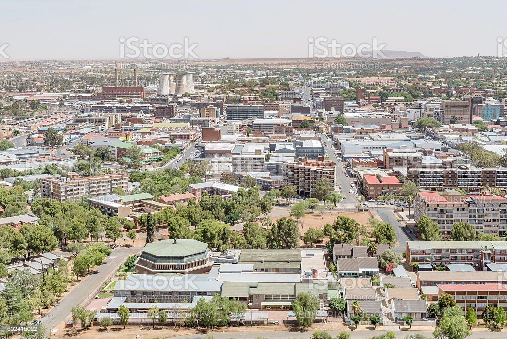 Part of the central business district of Bloemfontein stock photo