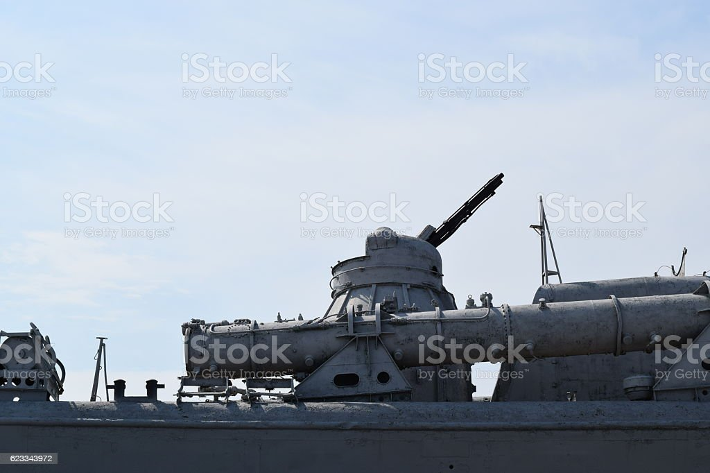Part of the deck of a warship. stock photo