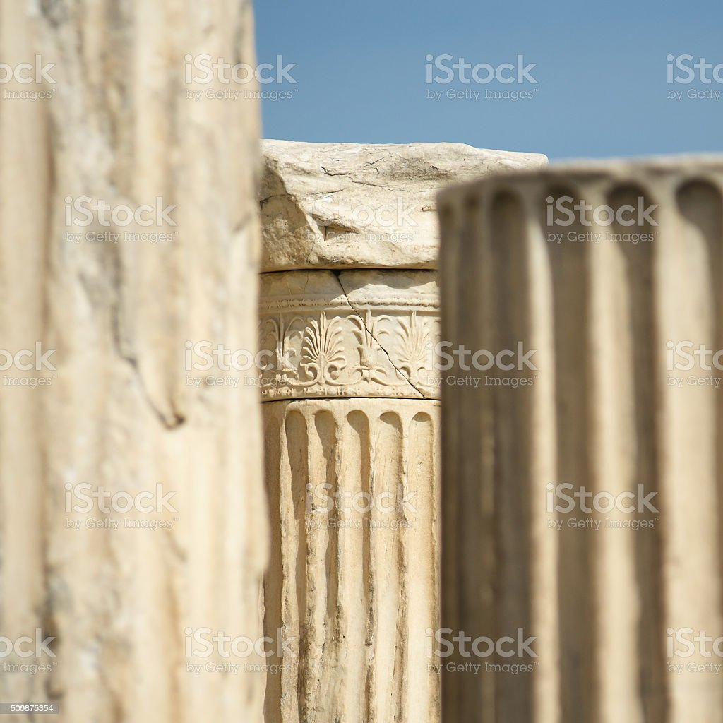 Part of the Greek Ionic Pillar with an ornament stock photo