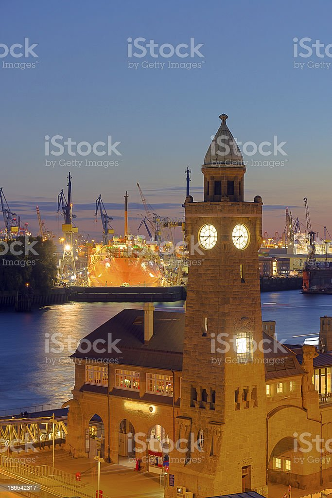 Part of the harbour in Hamburg stock photo