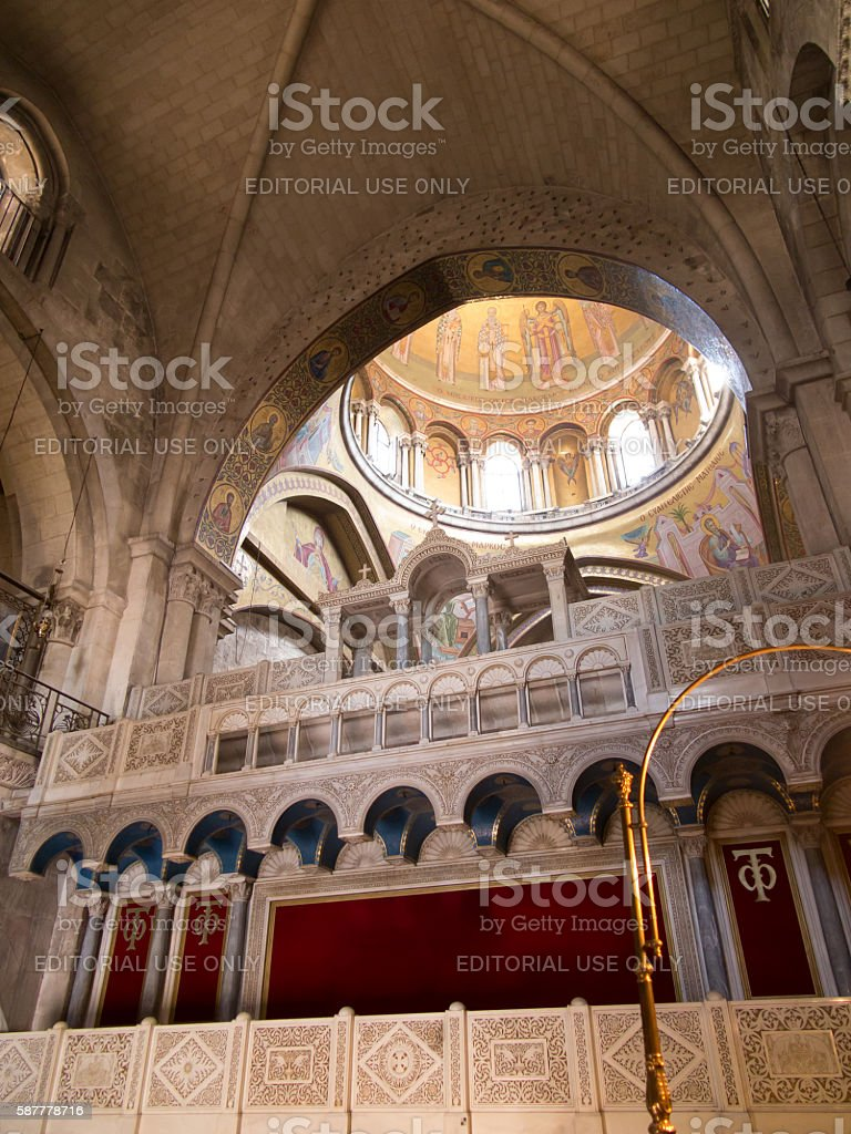 Part of the interior of the Basilica of  Holy Sepulchre stock photo