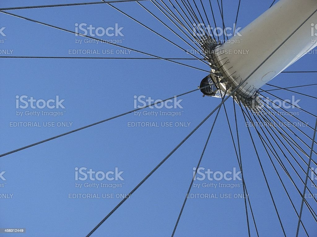 Part of the London Eye against a blue sky. royalty-free stock photo