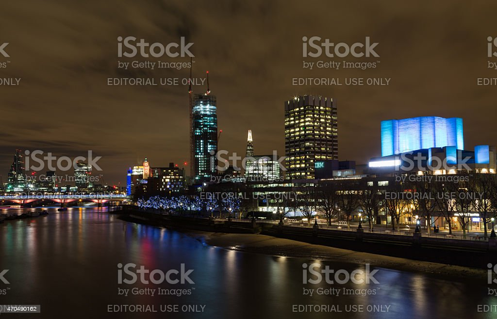 Part of the London Skyline at Night stock photo