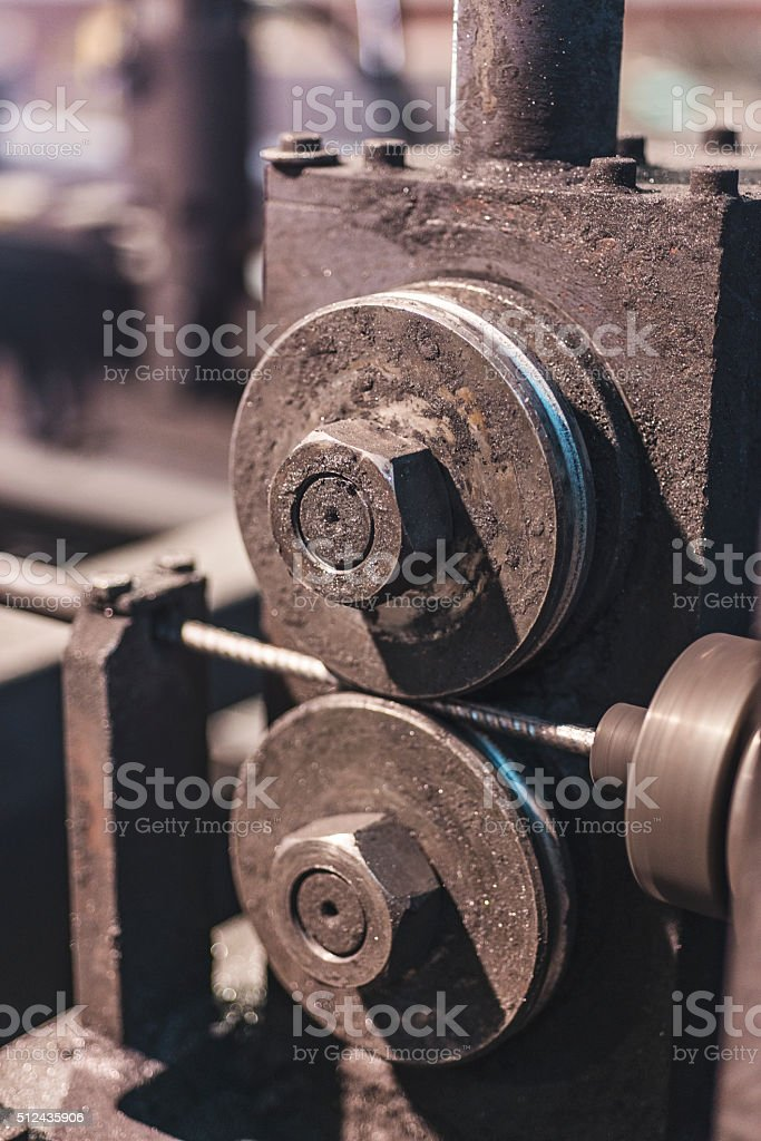 part of the machine for making wire mesh stock photo