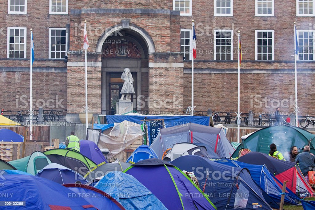 Part of the Occupy Bristol camp outside local government offices stock photo
