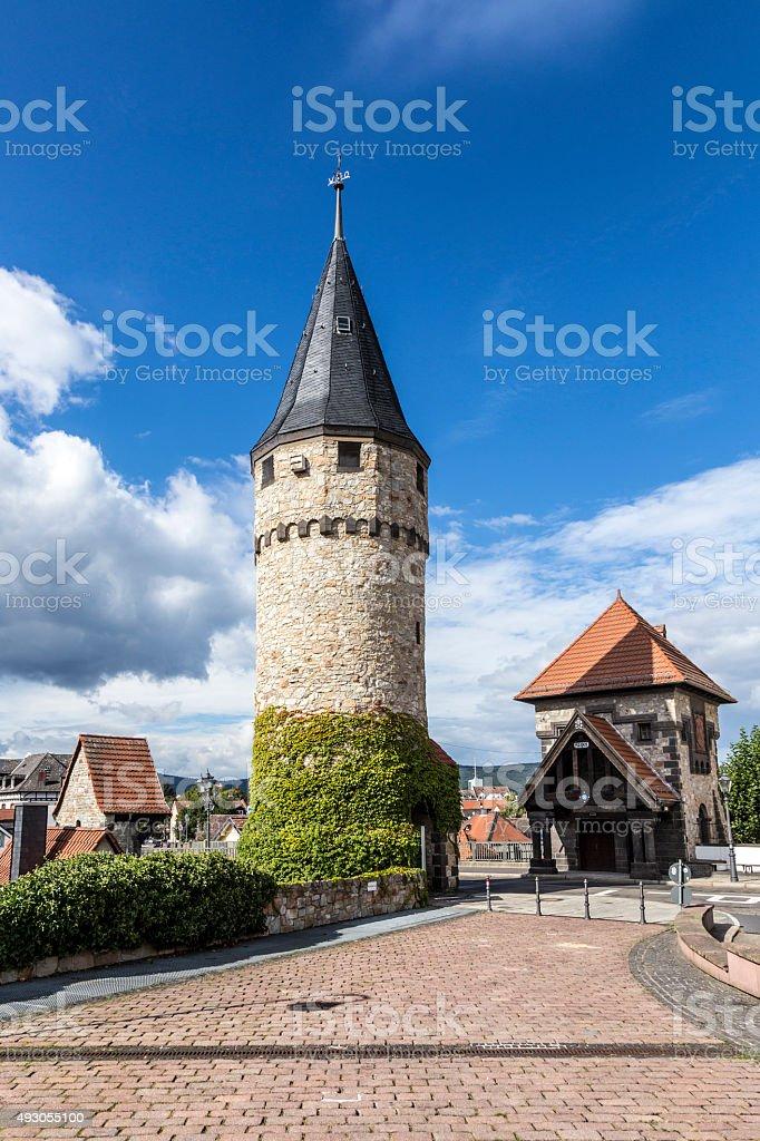 Part of the original drawbridge tower in Bad Homburg stock photo