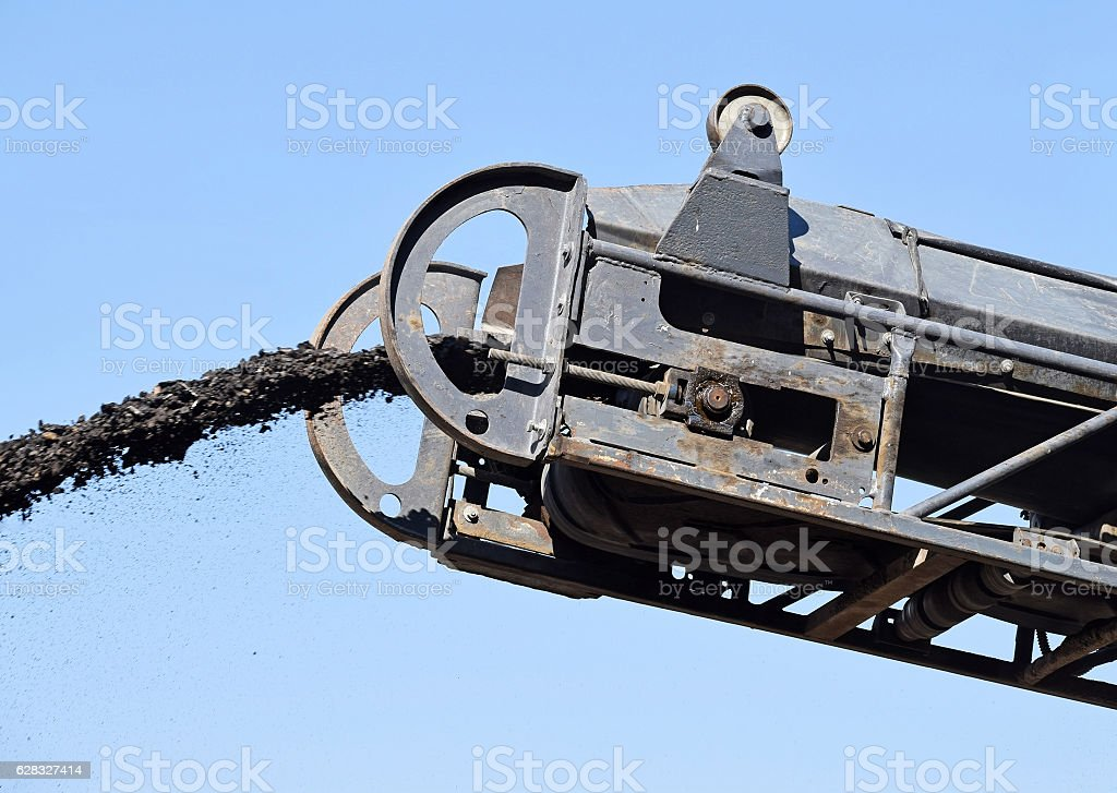 Part of the road scraper machinery stock photo