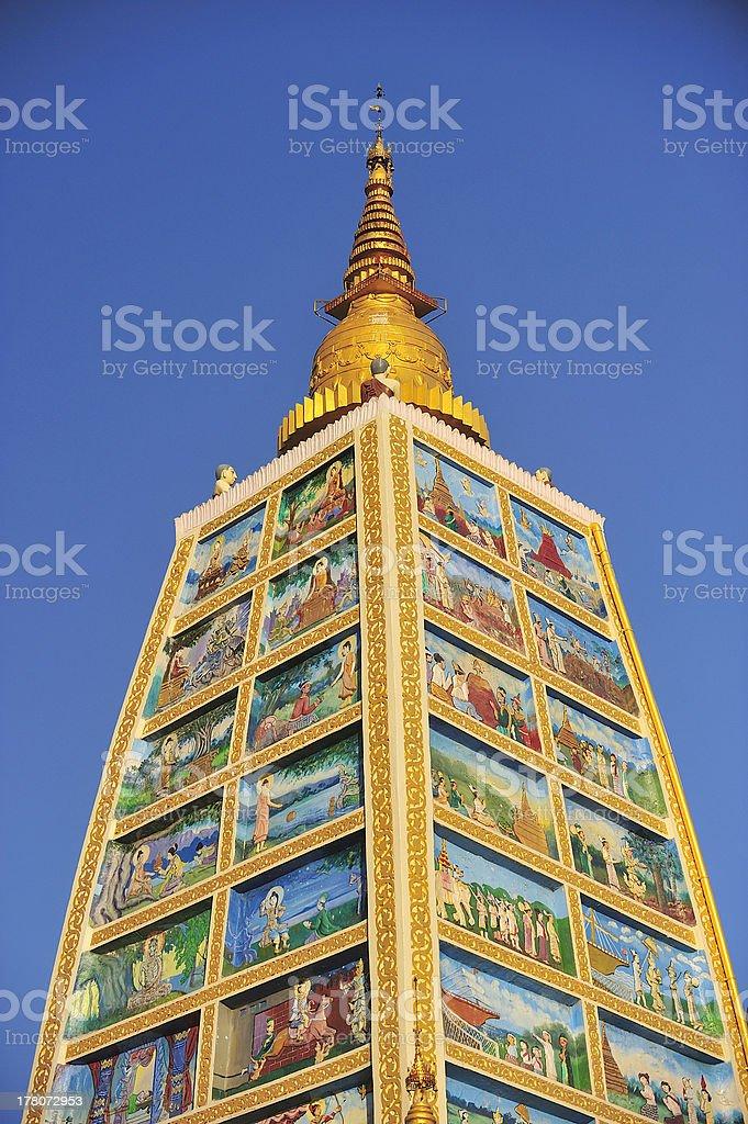 Part of the Shwedagon Pagoda in Yangon, Myanmar royalty-free stock photo