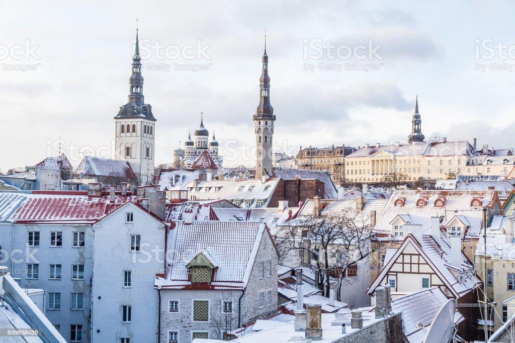 Part of the Tallinn Skyline in the Winter stock photo