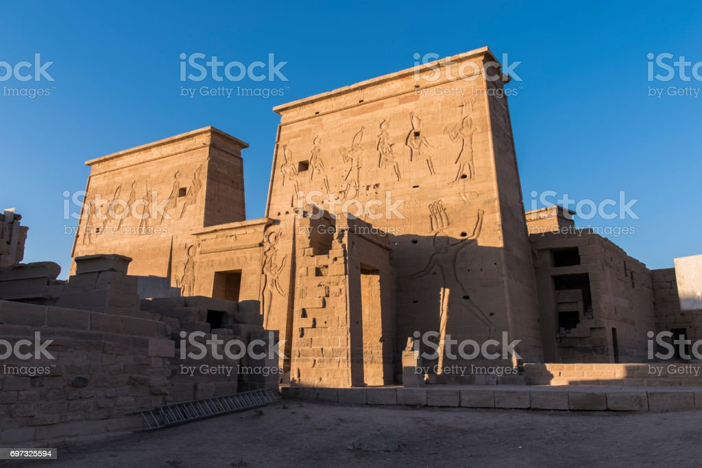 Part of the Temple of Philae, Aswan, Egypt. stock photo