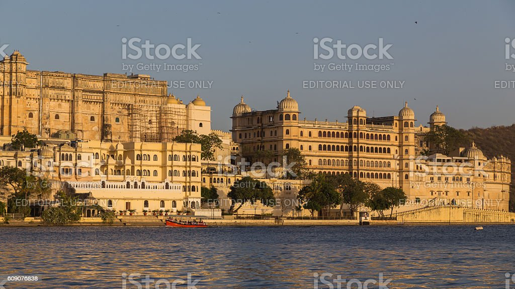 Part of the Udaipur City Palace stock photo