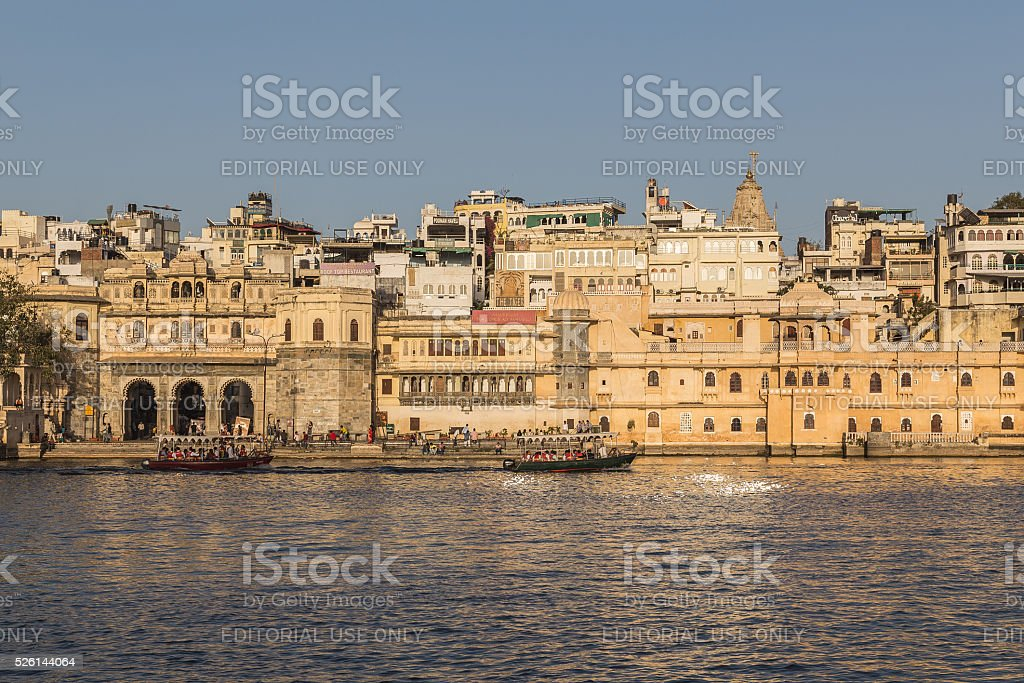 Part of the Udaipur Skyline at Sunset stock photo