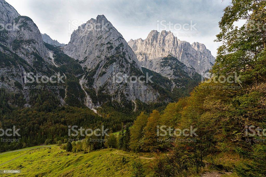 Part of the Wilder Kaiser mountains in Austria in autumn stock photo