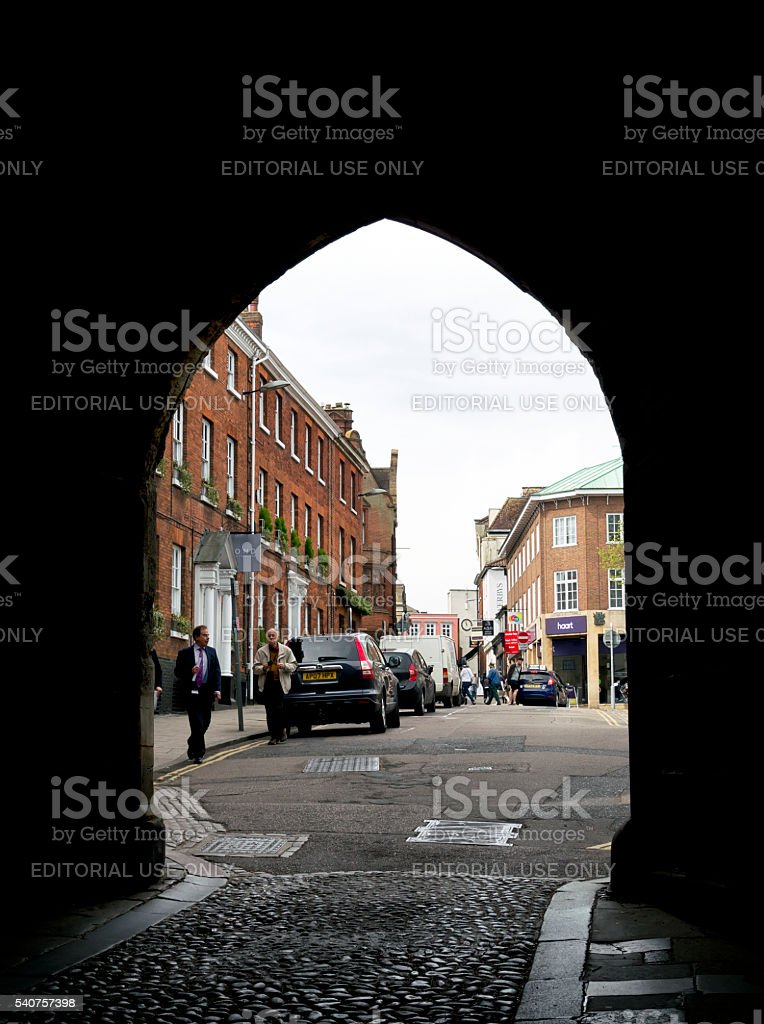 Part of Tombland seen through Ethelbert Gate, Norwich stock photo